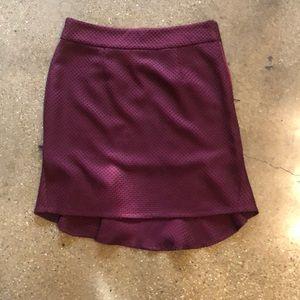 Burgundy high/low skirt